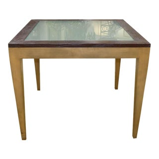 Judith Norman Cabot Game or Dining Table With Alligator Embossed Leather and Frosted Glass Top For Sale