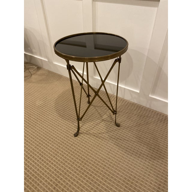 1990s Vintage Neoclassical Iron and Granite Side Table For Sale - Image 9 of 12