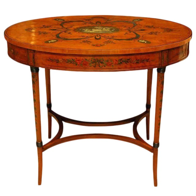 Sheraton Style Edwardian Painted Oval Satinwood Center Table For Sale