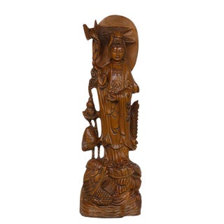 Chinese Antique Wood Carved Kwan Yin Statuary For Sale