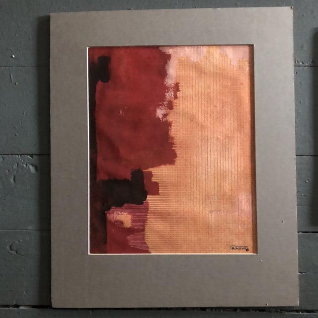 Abstract Original Vintage Ray Kinlock Abstract Paintings on Fabric - Collection of 7 For Sale - Image 3 of 9