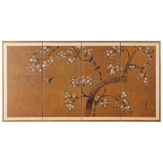 Japanese Four-Panel Screen of Birds in Prunus For Sale