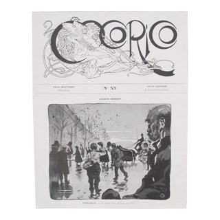 Original Art Nouveau Alphonse Mucha Masthead, Cocorico For Sale