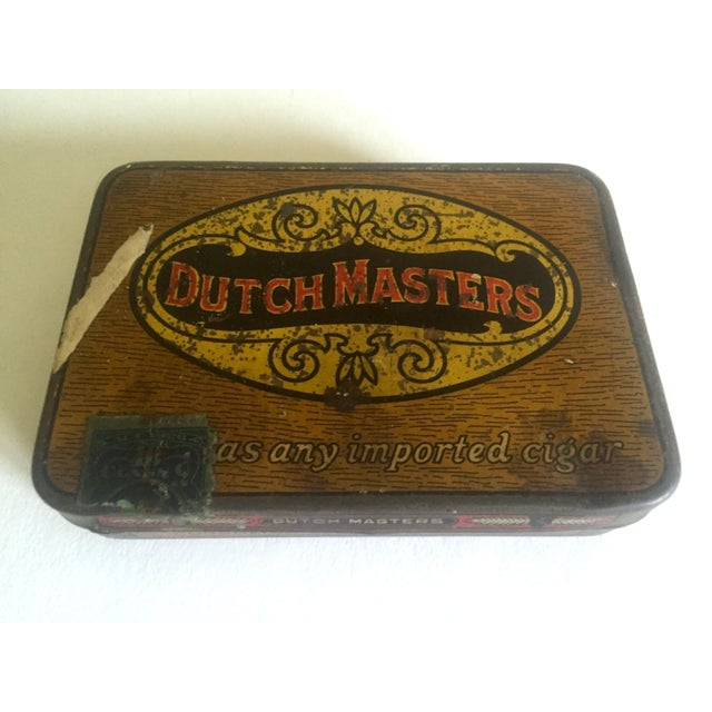 """Various Artists Vintage Early 1900's """"Dutch Masters"""" Lithograph Cigar Tin Box For Sale - Image 4 of 11"""
