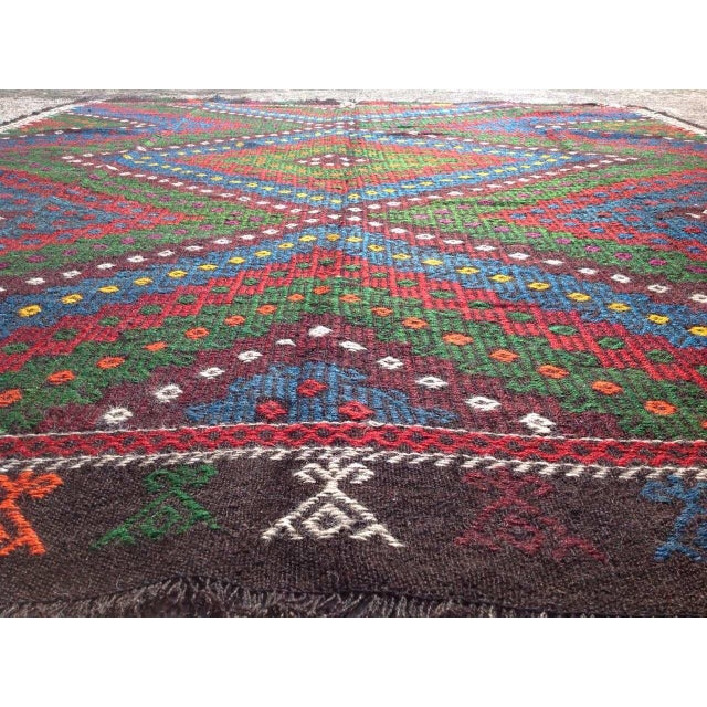 "Vintage Turkish Kilim Rug - 8'4"" x 9'4"" For Sale - Image 4 of 7"