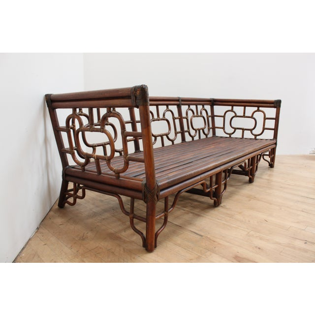 Chinese Chippendale Bamboo and Leather Sofa For Sale In San Francisco - Image 6 of 10