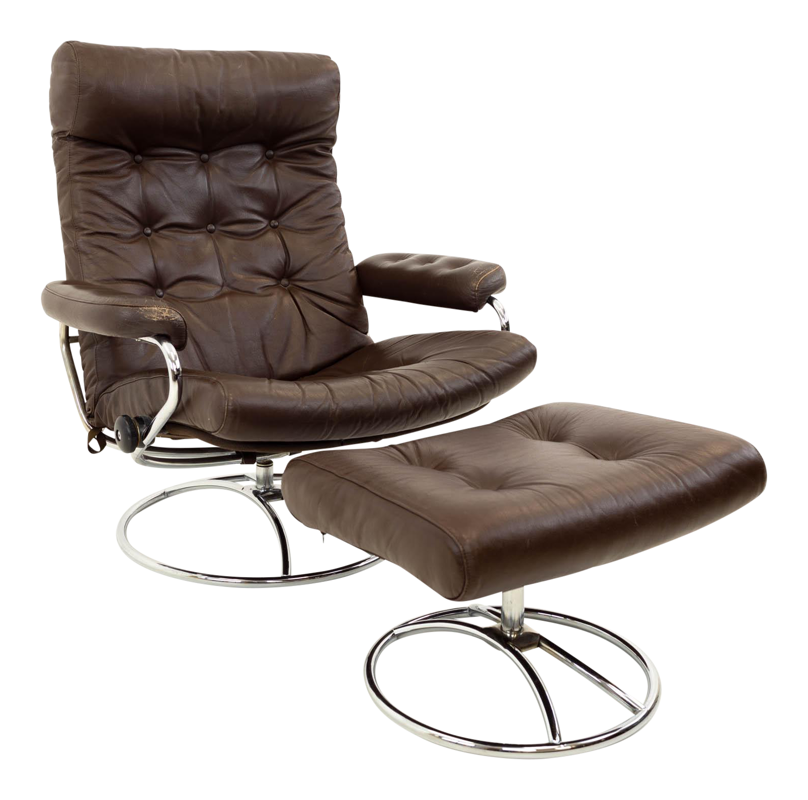 Mid Century Modern Ekornes Stressless Reclining Swivel Brown Leather