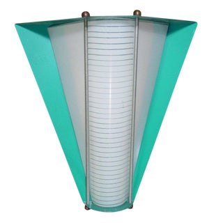 Googie Enameled Steel Wall Sconce With Glass Insert For Sale