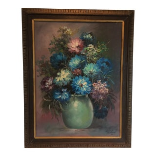 "Painting by Oscar Navarro Framed Oil on Canvas ""Vase of Flowers"" For Sale"