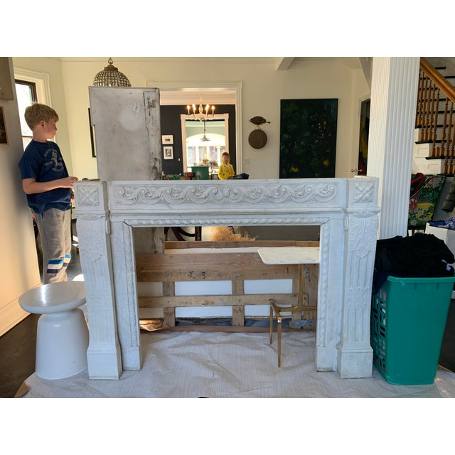 Stone 1900s Marble Fireplace Mantel For Sale - Image 7 of 12