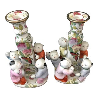 Asian Famille Rose Candle Holders With Boys Playing - a Pair For Sale