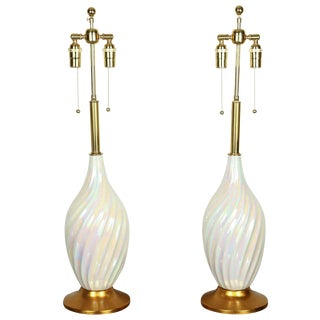 Mother of Pearl Glazed Ceramic Lamps - a Pair For Sale
