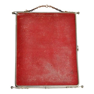 Travel Mirror With Pebbled Leather Case For Sale