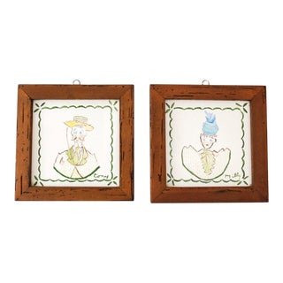 Mid Century Villeroy & Boch Hand Painted Ceramic Framed Wall Tiles - A Pair For Sale