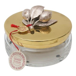Murano Glass Covered Candy Dish 1960s Silver Plate and Gold-Plated Brass For Sale