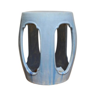Chinese Round Barrel Light Blue Ceramic Clay Garden Stool