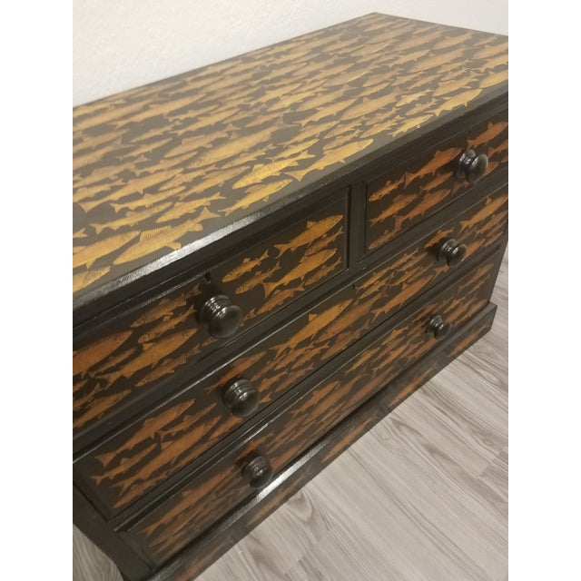Antique English Fish Decoupage Chest of Drawers - Two Drawers Over Two Drawers For Sale - Image 4 of 13