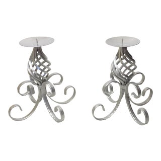 Vintage Wrought Iron Silver Candle Holder - A Pair For Sale
