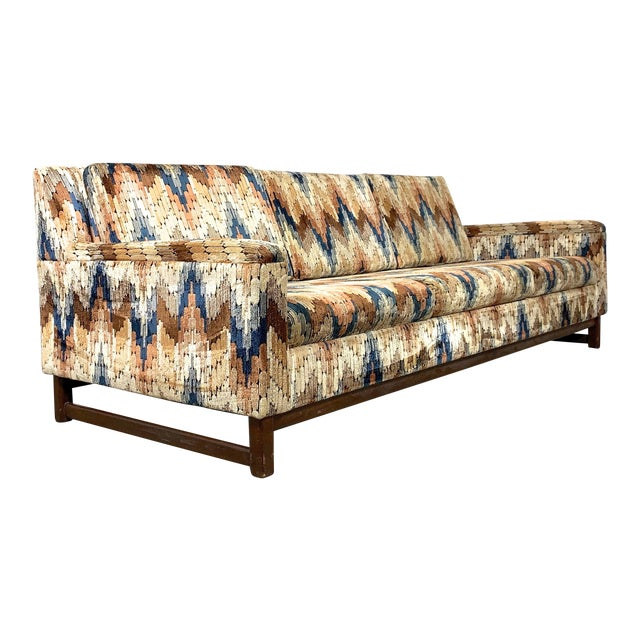 1960s Vintage Zig Zag Velvet Sofa in the Style of Harvey Probber For Sale