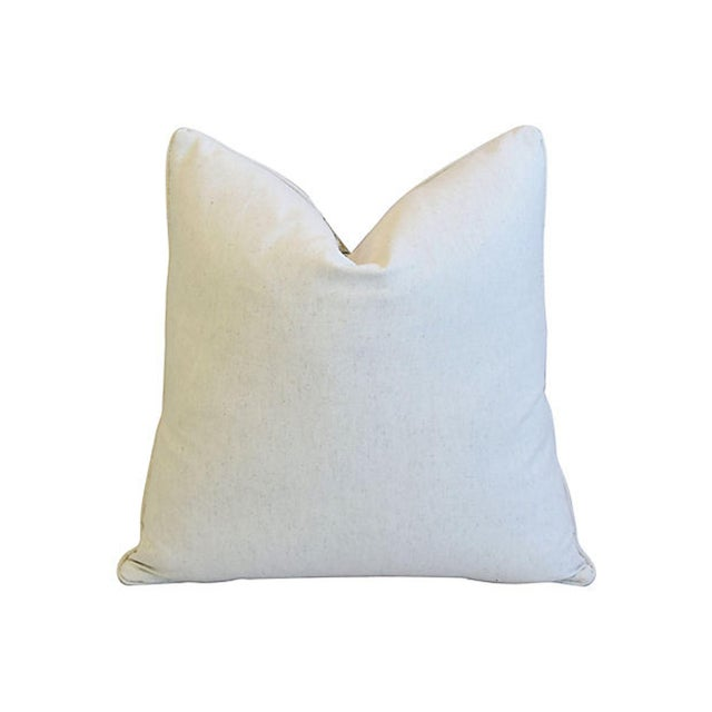 """French Country Botanical Floral Cotton & Linen Feather/Down Pillow 24"""" Square For Sale - Image 3 of 5"""