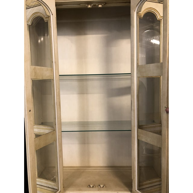 Blue Baker Breakfront French Country Glass Shelves, Lighting and Two Storage Cabinet - 2 Pc. For Sale - Image 8 of 12