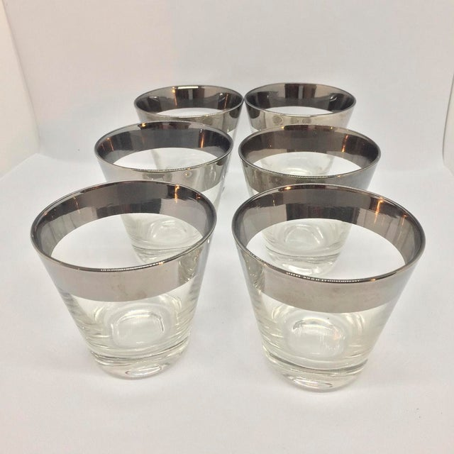 Mid-Century Platinum Banded Lowball Glasses - Set of 6 For Sale In Tampa - Image 6 of 6