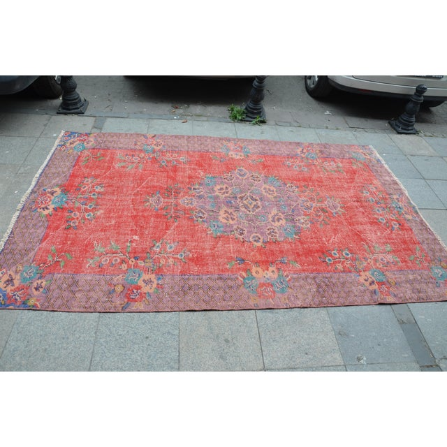 Antique Turkish Wool Rug - 5′10″ × 9′4″ For Sale - Image 4 of 6