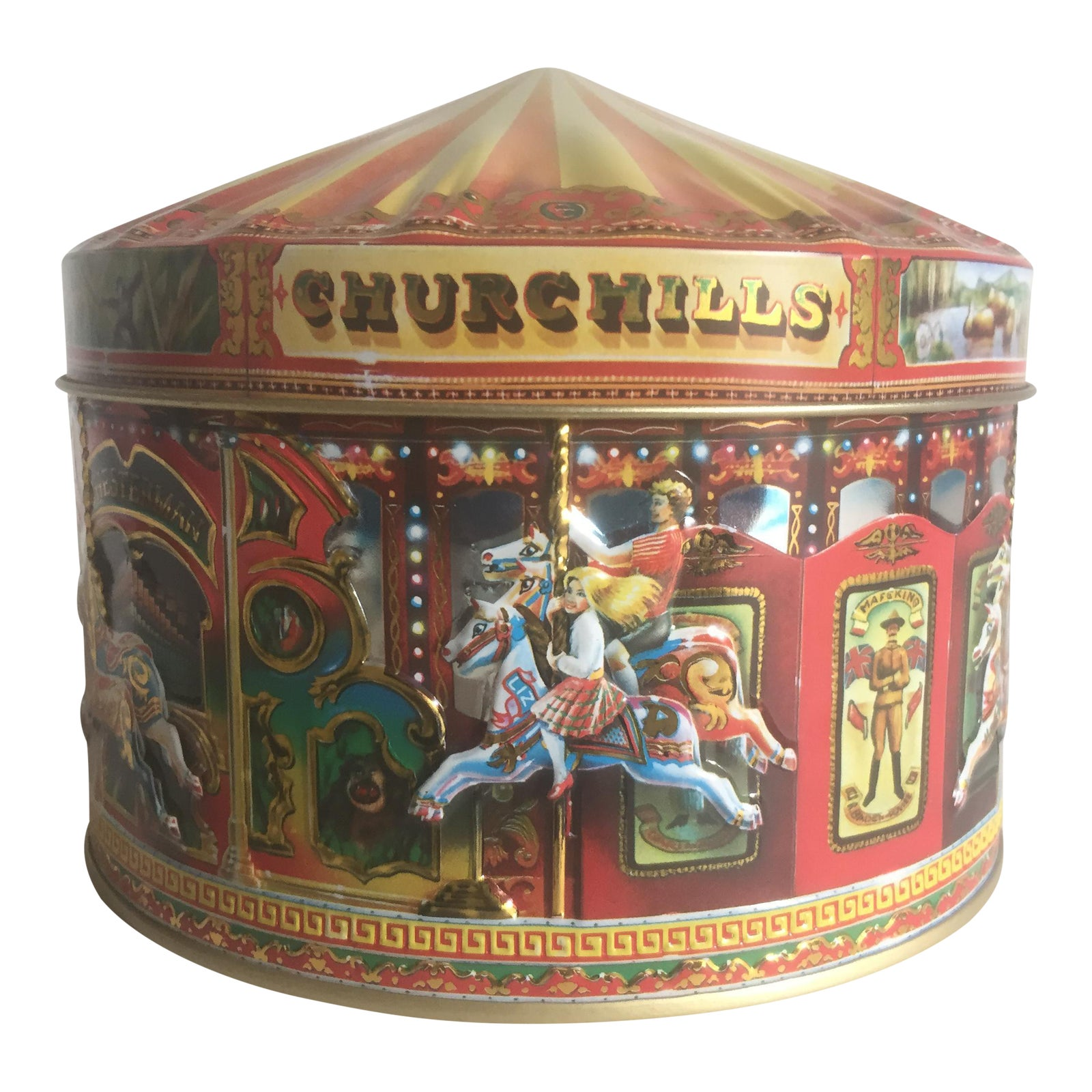 Vintage Churchill S Of London Carousel Candy Tin Box