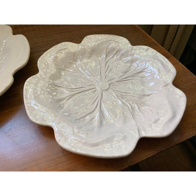 1980s Vintage Bordallo Pinheiro, White Majolica Cabbage Plates - Set of 3 For Sale - Image 10 of 11