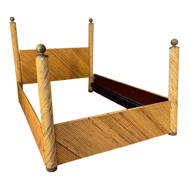 Brown Split Pencil Reed Rattan Queen Size Poster Bed For Sale - Image 8 of 8