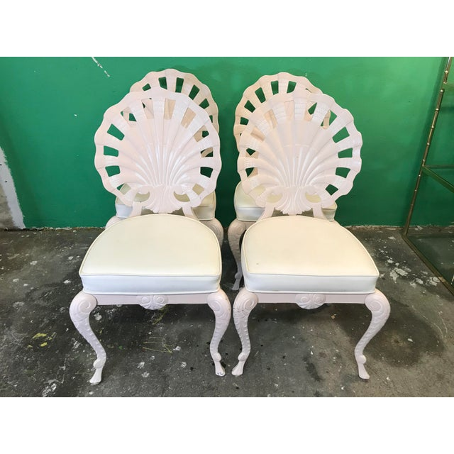 Vintage Palm Beach Regency Pink Brown Jordan Grotto Shell Back Chairs-Four For Sale - Image 12 of 13