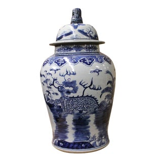 Chinese Large Blue & White Kirin Porcelain General Temple Jar For Sale