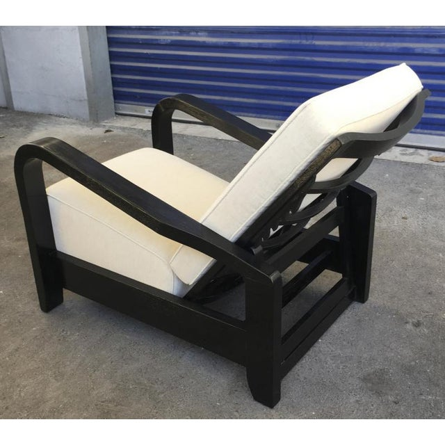 Pair of France 50s exceptional leaning comfy lounge chairs fully restored.