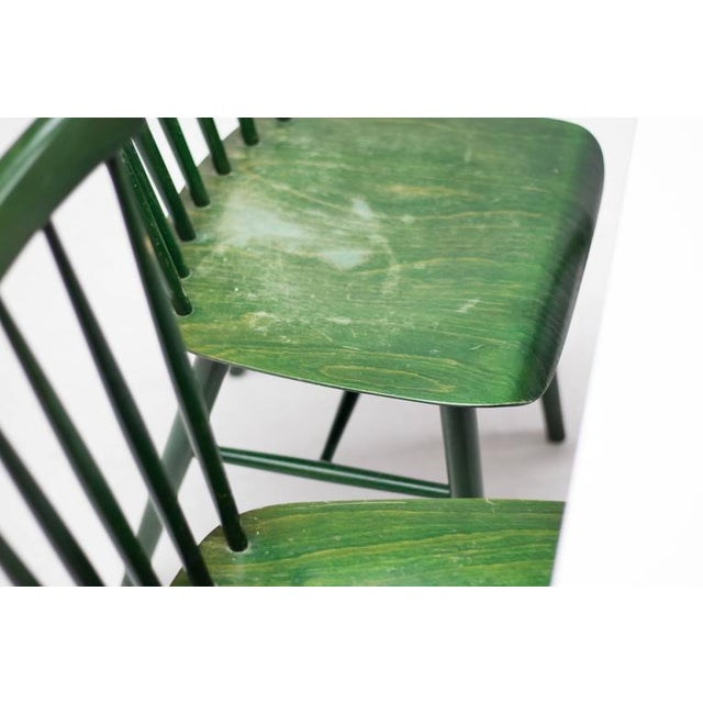 Fabric Set of Four Ilmari Tapiovaara Spindle Back Chairs and Table For Sale - Image 7 of 9