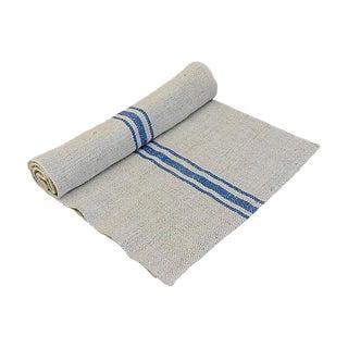"""95"""" Long Custom French Grain Sack Table Runner W/ Blue Stripes For Sale"""