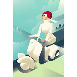 Vintage Style Vespa Poster by Mads Berg For Sale