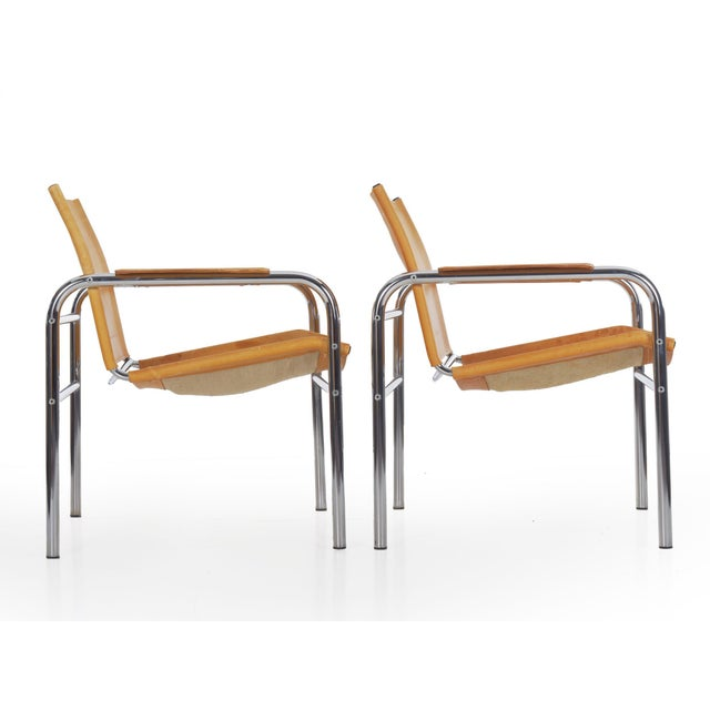 """1970s Circa 1970s Vintage Chrome and Leather """"Klint"""" Arm Chairs by Tord Bjorklund - a Pair For Sale - Image 5 of 13"""
