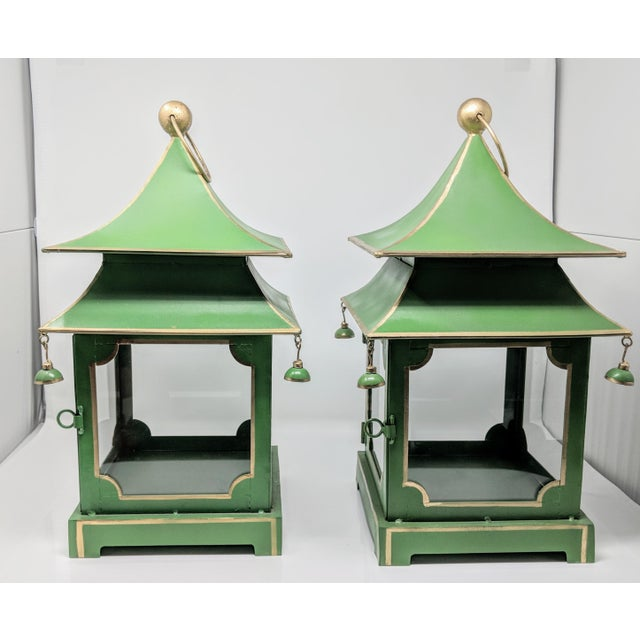 Green Asian Antiqued Two-Tier Green Tole Pagoda Lanterns - a Pair For Sale - Image 8 of 12