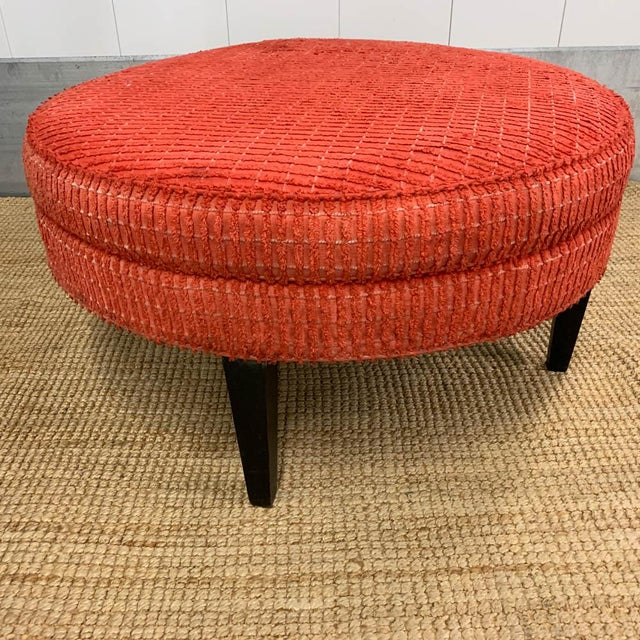 All original mid century round ottoman with black finish wood frame. Signed Lane. Bright and textural, the upholstery is...