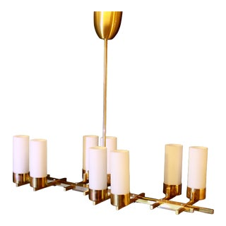 Mid-Century Jacques Adnet Brass Chandelier, France For Sale