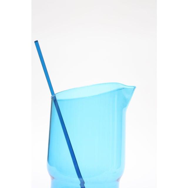 Gunnar Ander for Lindshammer Swedish Blue Glass Pitcher & Stirrer For Sale In New York - Image 6 of 11