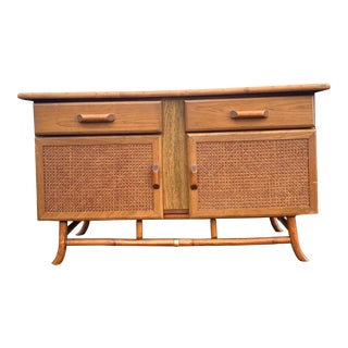 Late Mid-Century Bamboo and Cane Front Credenza For Sale