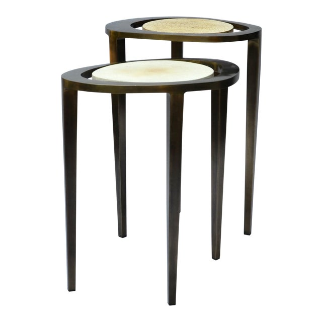 R & Y Augousti Bronze Nesting Side Tables - Image 1 of 10