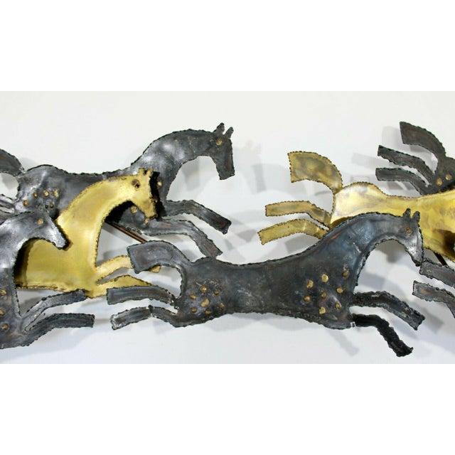 Metal 1960s Mid Century Modern Brutalist Hammered Metal Horse Wall Art Sculpture For Sale - Image 7 of 8