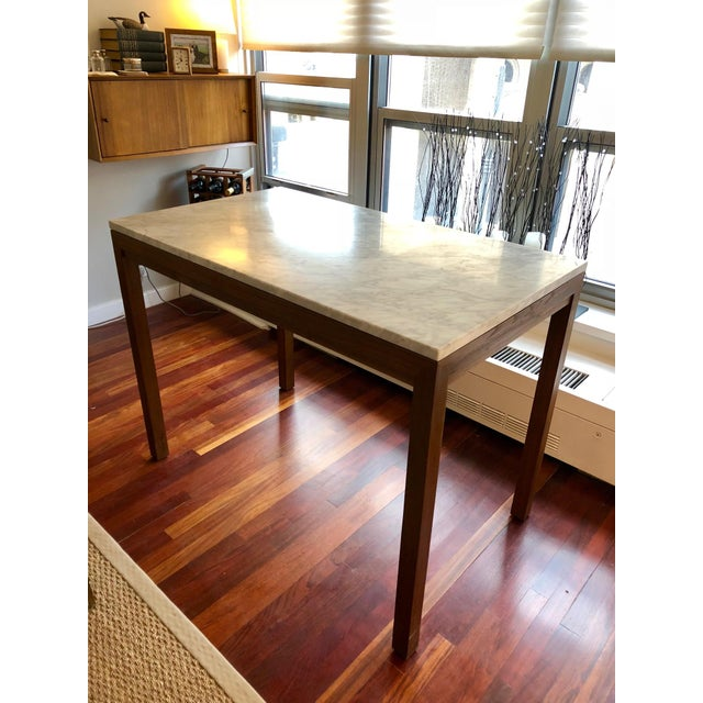 Brown Parsons White Marble Top/ Elm Base Dining Table For Sale - Image 8 of 8