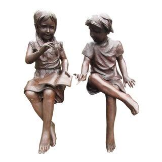Pair of Bronze Schoolchildren Statues For Sale