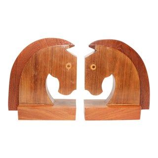 Art Deco Stylized Wood Sculptures of Horse Bust Bookends - a Pair For Sale