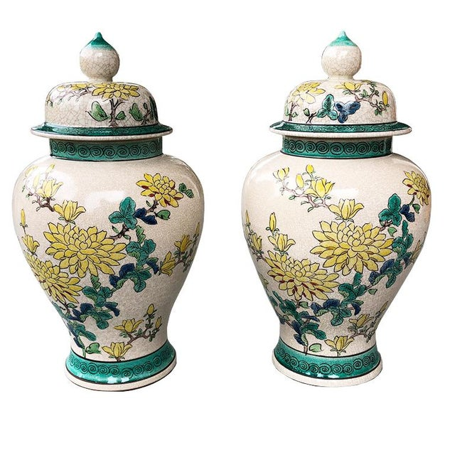 Emerald Green and Yellow Floral Ceramic Ginger Jars or Urns With Lids 20th Century - a Pair For Sale In Oklahoma City - Image 6 of 6