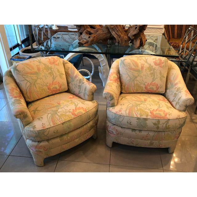 Textile Vintage Pastel Tropical Birds Club Lounge Chairs - a Pair For Sale - Image 7 of 11