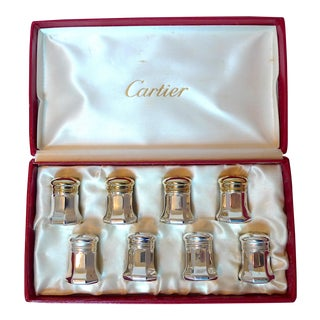Cartier Sterling Silver Salt and Pepper Shakers - 8 Pieces For Sale